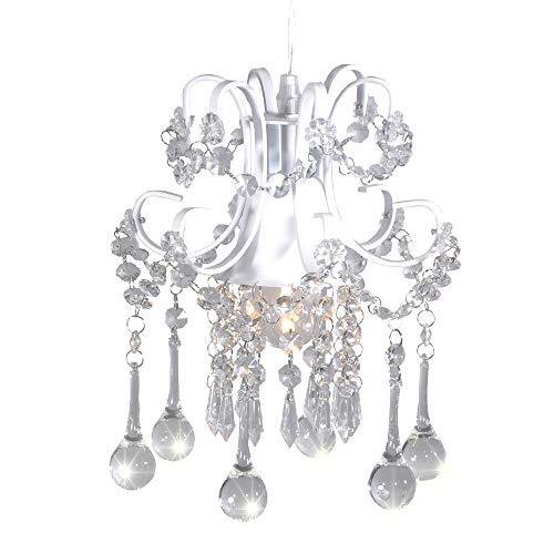 Mini Style Crystal Chandelier Pendant Light White,1-Light -