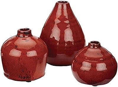 Sullivans Ceramic Vase Set, Various Sizes, Red, Set of 3 (CM2038)