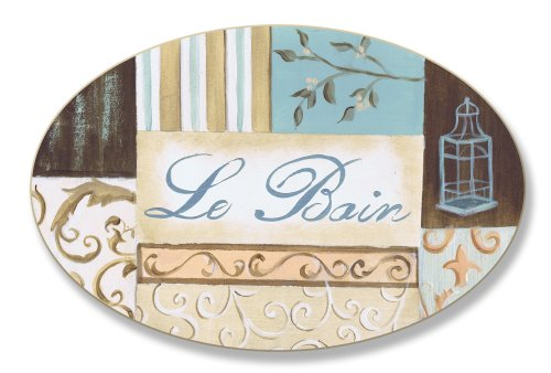 The Stupell Home Decor Collection Aqua with Peach Lantern Patchwork Le Bain Oval Bathroom Wall Plaque