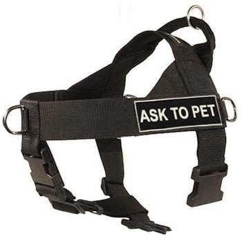 Dean & Tyler D&T UNIVERSAL ASK2PET BK-XL DT Universal No Pull Dog Harness, Ask To Pet, X-Large, Fits Girth, 91cm to 119cm, Black