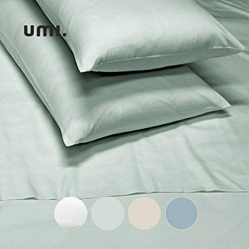 UMI. by Amazon - Juego de 2 Fundas de Almohada estándar de satén de algodón 100%, 300 Hilos, Gris Claro: Amazon.es: Hogar