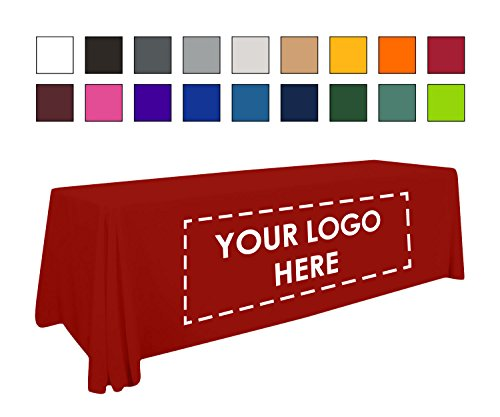 BuildASign Personalized Add Your Own Logo Custom Tablecloth 6' Red Table Cover - Table Throw]()