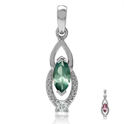 - Marquise Shape Simulated Color Change Alexandrite & White CZ Gold Plated 925 Sterling Silver Pendant