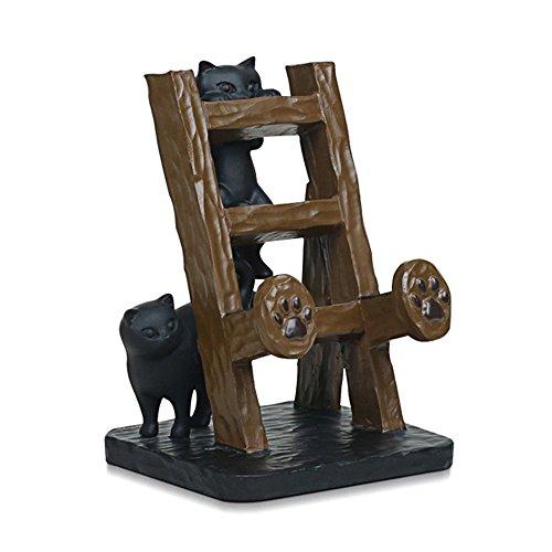 Elecnova Desktop Cell Phone Holder Resin 2 Black Cats Smartphone Stand Mount Dock For All