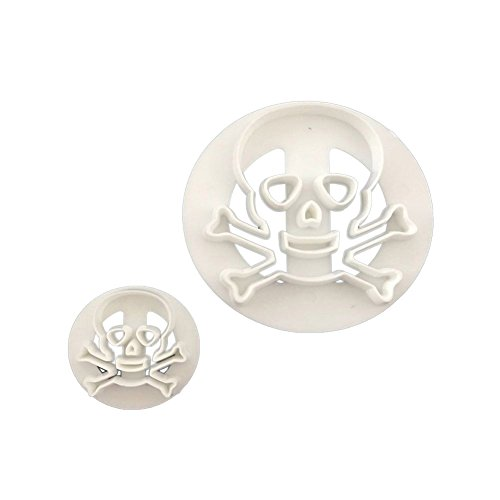 Blisscomdep 2Pcs Eco-friendly Plastic Skull Head Biscuits Cutter, Halloween Party Cookies Mold Pastry Fondant Cake Decorating Supplies - White ()