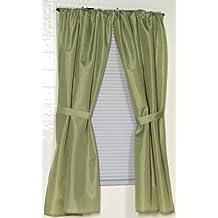 Carnation Home Fashions Fabric Bathroom Window Curtain, Sage