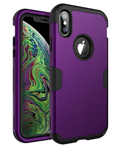 TOPSKY iPhone Xs MAX 6.5 inch Case Three Layer Shockproof Protection High Impact Resistant Protective Phone Cover,Purple