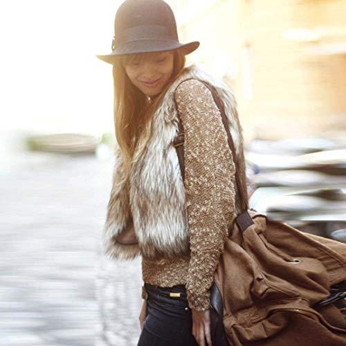 Alta Caldo Eleganti Vintage Gilet Sintetica Qualità Moda Pelliccia Outwear Giacca Primaverile Khaki Casual Di Corto Autunno Canottiera Donna Smanicato Abbigliamento tTxw6Sqq