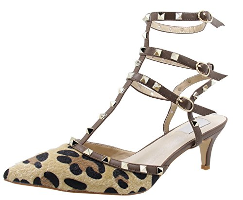 - Royou Yiuoer Fourteen Colors Women's Patent Leather Buckle Studded Sandals T-Strap Kitten Pumps Dress Sandals Leopard 11.5 B(M) US