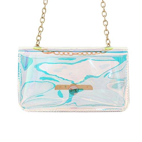 Party Novias Bucket Women Ladies Fashion Bag Boutique Holograhic Transparent3 Shoulder ZpYApqUBT