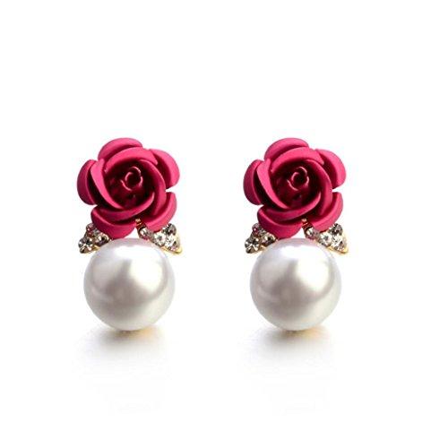 Auwer 2019 Stud Earrings, Fashion Jewelry Bohemia Flower Rhinestone Earrings for Women Summer Style (Hot Pink)
