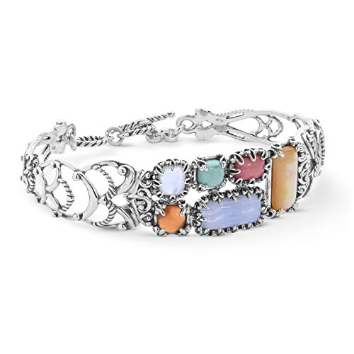 Carolyn Pollack Sterling Silver Multi Gemstone Toggle Bracelet Size S/M