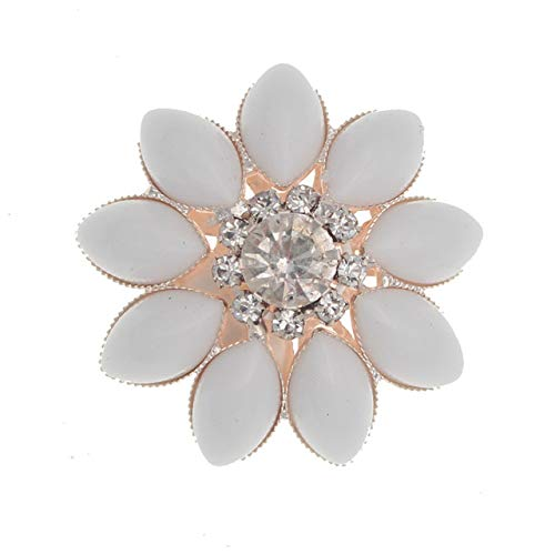 (Maslin New 5pieces 34mm Flower Rhinestones Button Decorative Shank Resin Button DIY Handmade Sewing Girl Hair Ribbon Wedding Decoration - (Color: Porcelain Button, Size: Silver))