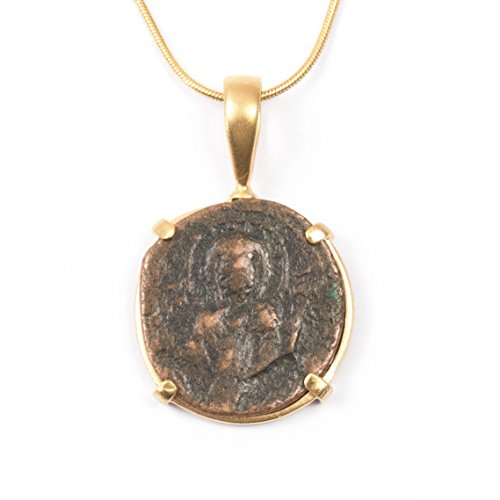 Real Byzantine Christ Anonymous Follis Coin Charm Necklace - 16 inches Long Handmade 22kt Gold Vermeil Chain Necklace by Miller Mae Designs (Necklace Religious Vermeil)