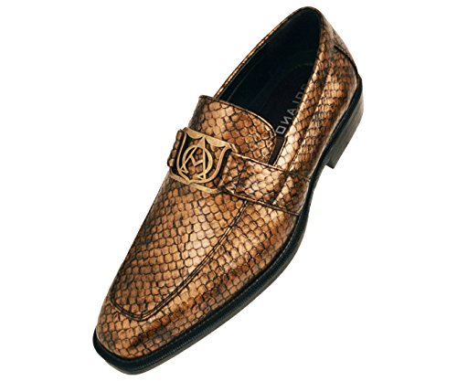 Bolano Heren Glanzend Brons Exotische Slangenhuid Bedrukte Versierde Slip-on-kledingschoen: Stijl Walsh-153
