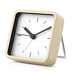 Silent Analog Alarm Clock Non-Ticking, Gentle Wake, Beep Sounds Desktop Table Clock, Battery Operated, Easy Set, Best for Children (Beige)