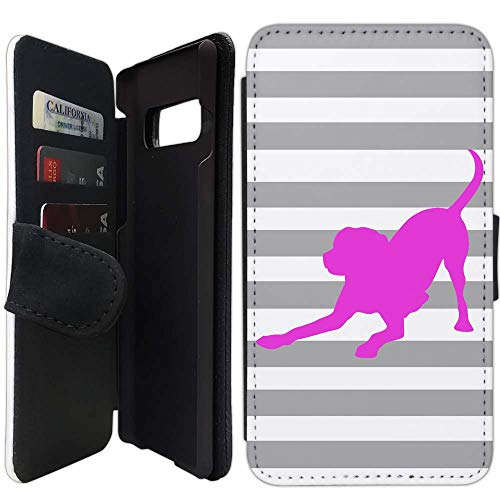 Flip Wallet Case Compatible with Galaxy S10 Plus (6.4 inch) (Striped Lab Gray White Pink) with Adjustable Stand and 3 Card Holders | Lightweight | Includes Free Stylus Pen by ()
