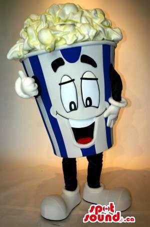 Peculiar Popcorn Box Food Snack Movie Character Mascot SpotSound US