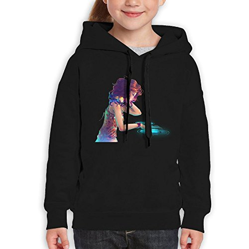 DJ Girl Logo Hooded Cool Hoodie Sweatshirts Pullover For Teens X-Large Black