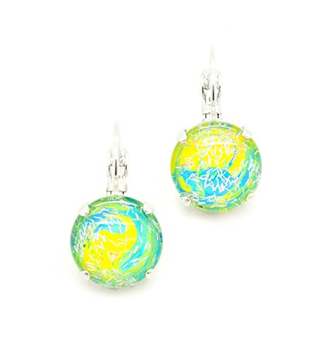 reflections-12mm-hand-painted-glass-cabochon-drop-leverback-earrings-pick-your-finish-karnas-design-