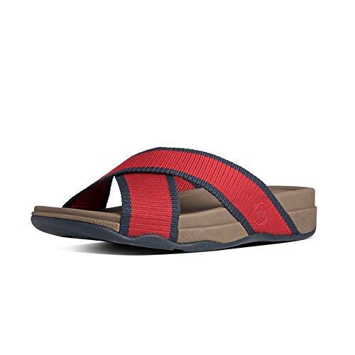 Fitflop Mens Surfer Sandalo Scorrevole Rosso