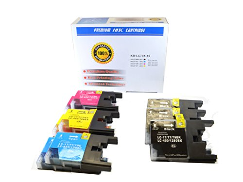 10 Pack of LC-79 High Capacity Printer Ink Cartridge replacement for Brother Printers MFC J6510DW J6710DW J6910DW (4 Black, 2 Cyan, 2 Magenta, and 2 (79 High Capacity Black Ink)