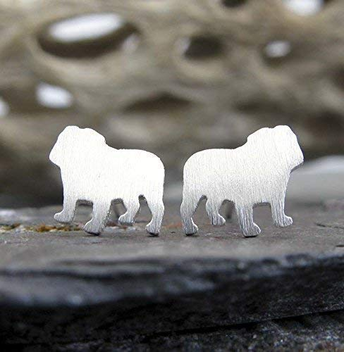 English Bulldog stud earrings. Brushed sterling silver tiny dog post jewelry. Handmade in the USA.