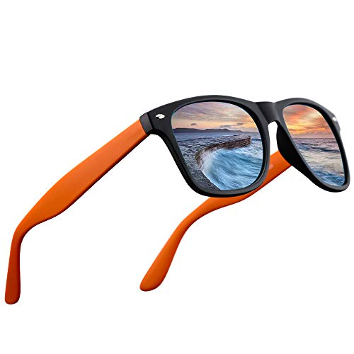 LR Polarized 80's Retro Classic Trendy Stylish Sunglasses for Men Women 53mm NCS004 (Matt Black/Orange)]()