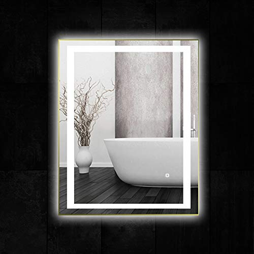 36 x 28 inch LED Lighted Vanity Bathroom Mirror, Wall Mounted + Anti Fog & Dimmer Touch Switch + UL Listed + IP44 Waterproof + 5500K Cool White +3000K Warm + CRI>90 + Vertical&Horizontal