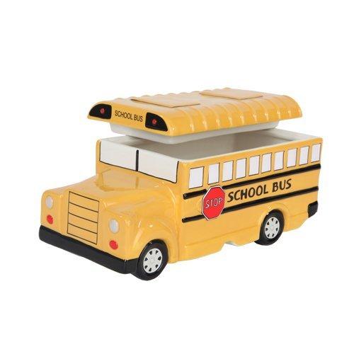 Bus Cookie Jar (9.75 Inch Yellow School Bus Ceramic Cookie Jar Statue Figurine by PTC)