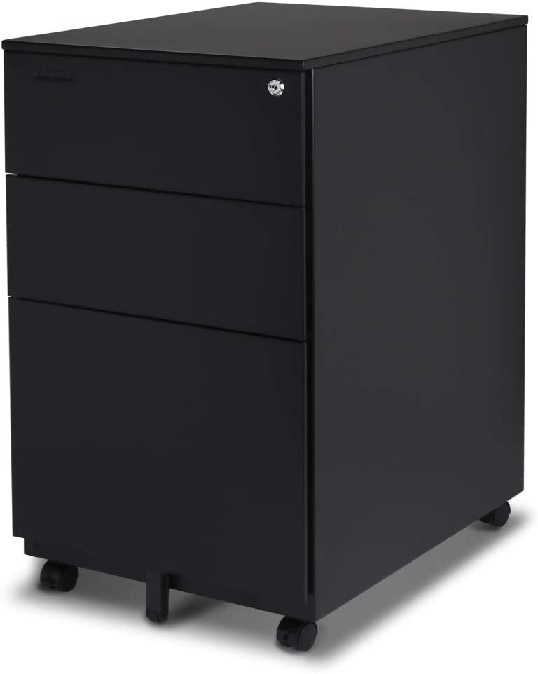 Aurora FC-103BK Modern SOHO Design 3-Drawer Metal Mobile File Cabinet with Lock Key Sliding Drawer, Fully Assembled, Black