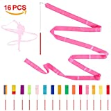 16 PCS Kids Rhythmic Dance Ribbons Gym Ribbons-Streamers Dancing Streamers, 6'6''(2m) Rotating Baton with Non-slip Wands for Children