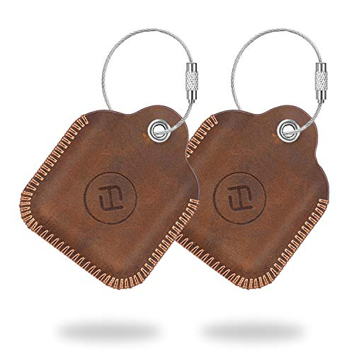 - (2 Pack) Fintie Genuine Leather Case for Tile Mate 2016 2018, Tile Pro, Tile Sport, Tile Style Key Finder Phone Finder, Anti-Scratch Protective Skin Cover Accessories with Keychain, Brown