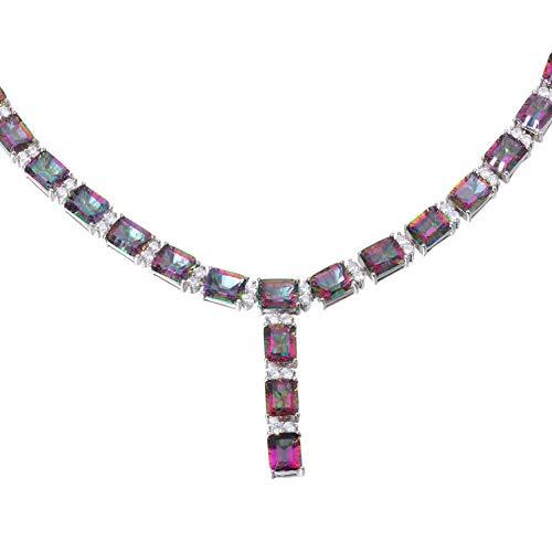 Rainbow Topaz Silver for Women Jewelry Fashion Gemstone Pendant Necklace NL104