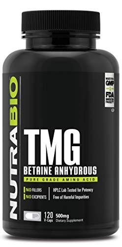 NutraBio Trimethylglycine (TMG, Betaine) (500mg) - 120 Vegetable Capsules