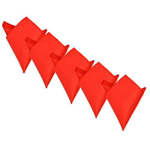 5-Pack Set Men's Solid Color Pocket Square Handkerchief, Red (Red Handkerchief Pocket)