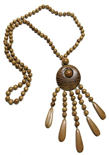- Kalea Hand Crafted Women's Wooden Bohemian Ethnic Pendant Necklace Boho Charm Jewelry, in Oak
