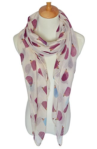 GERINLY Animal Shawl Wrap: Cute Hedgehogs Print Scarves For Women (Beige)