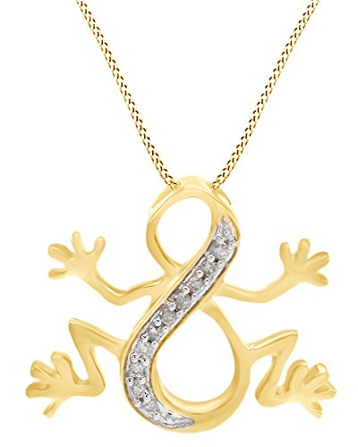 AFFY White Natural Diamond Frog Infinity Pendant Necklace in 14k Yellow Gold Over Sterling Silver (0.1 ()