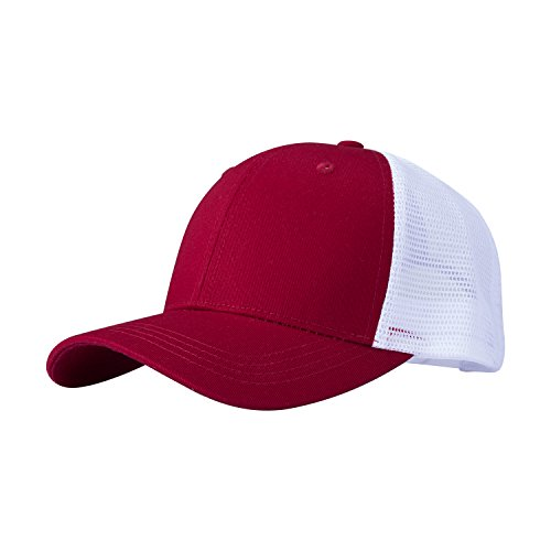 PT FASHIONS Adjustable Cotton Baseball Cap Unisex Outdoor Sport Low Profile Trucker Mesh Cap-02red