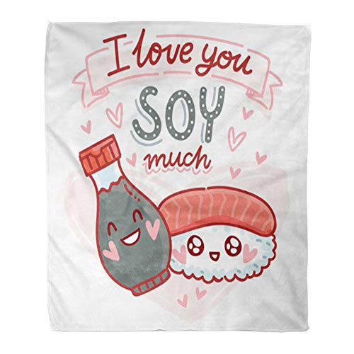 - Emvency Throw Blanket Warm Cozy Print Flannel Pun Quibble Love Cute Sushi and Soy Sauce Characters Lettering Text I You Much Comfortable Soft for Bed Sofa and Couch 50x60 Inches