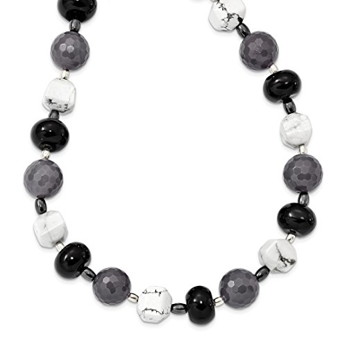 925 Sterling Silver Black Grey Agate/hematite/howlite Chain Necklace Pendant Charm Natural Stone Fine Jewelry Gifts For Women For Her]()