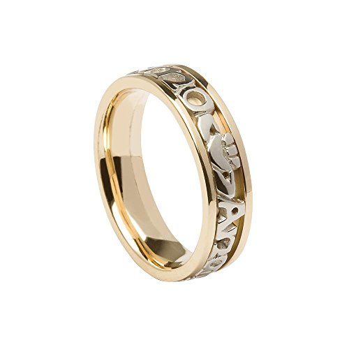 Ladies Mo Anam Cara Wedding Band 14k White Gold Irish Made