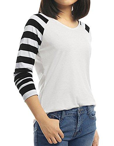 Camicia Donna Autunno Elegante Manica Lunga A Righe Ragazze Camicie V Neck Casual Sciolto Maglietta Moda Giuntura Top T-Shirt