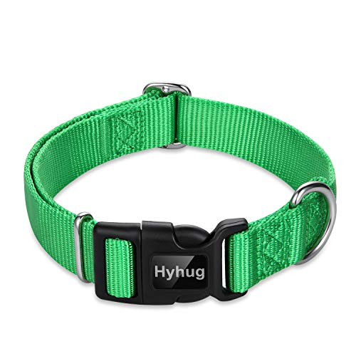 Hyhug Pets Classic Regular Heavy Duty Nylon Dog Collar with Easy Attach and Removal Buckle. (Medium, Lime Green)