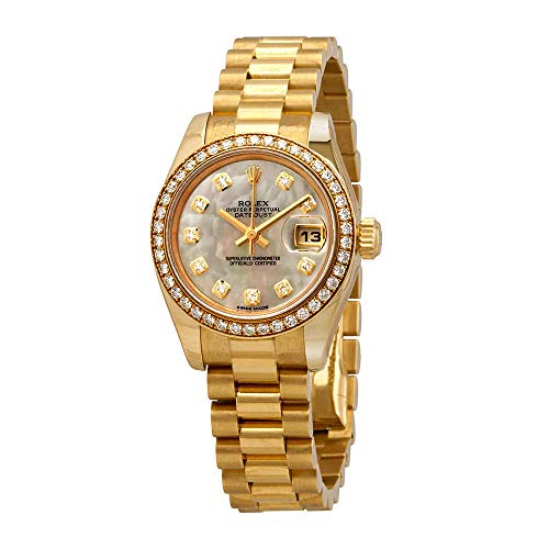 Womens 18k Gold Automatic Watch - Rolex Lady-Datejust 26 Mother of Pearl Dial 18K Yellow Gold President Automatic Ladies Watch 179138MDP