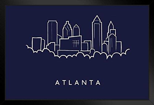 Print Framed Pencil Art - Atlanta City Skyline Pencil Sketch Art Print Framed Poster 20x14 inch