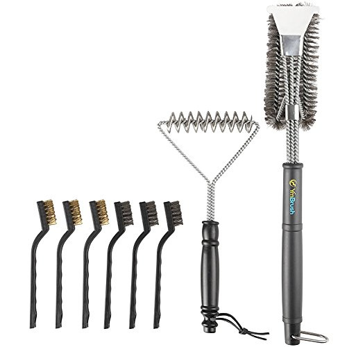 Grill Brush and Scraper -8PCS Extra Strong Deep Clean BBQ Cleaner Kit - Safe Wire Bristles Stainless Steel Barbecue Triple Scrubber Cleaning Brush for Weber Gas/Charcoal Grilling Grates, Best wizard t by TTKTK