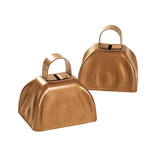 Gold Tone Wedding Bell - Fun Express - Metallic Gold Cowbells for Wedding - Toys - Noisemakers - Spirit Noisemakers - Wedding - 12 Pieces