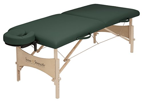 "EARTHLITE Inner Strength Massage Table Package Tech 200 - Natural Maple, 375lb Working Weight, 23-33"" height range, Size 28x73"", Hunter Green"